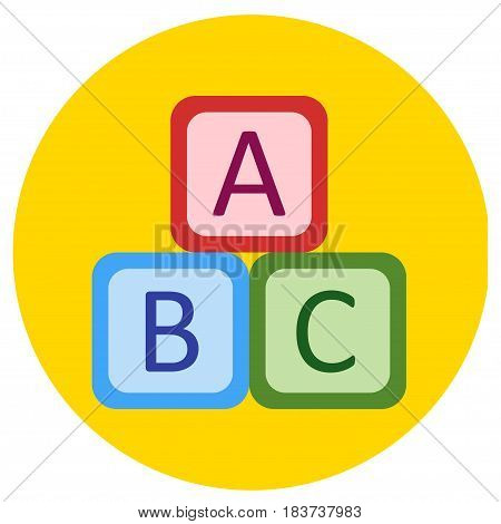 Icons cube of toys in the flat style. Vector image on a round colored background. Element of design, interface