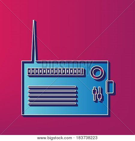 Radio sign illustration. Vector. Blue 3d printed icon on magenta background.