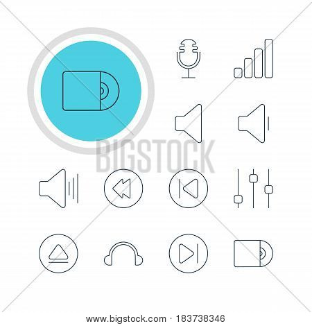 Vector Illustration Of 12 Melody Icons. Editable Pack Of Speaker, Decrease Sound, Rewind And Other Elements.