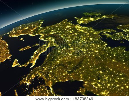 Europe From Space In The Evening
