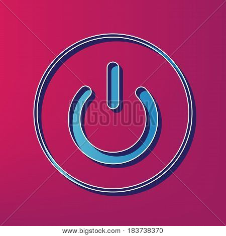 On Off switch sign. Vector. Blue 3d printed icon on magenta background.