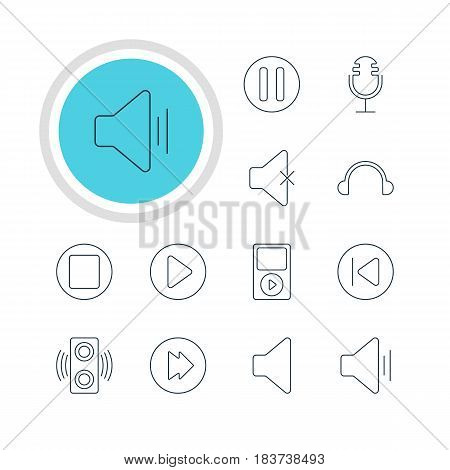 Vector Illustration Of 12 Melody Icons. Editable Pack Of Amplifier, Audio, Start And Other Elements.