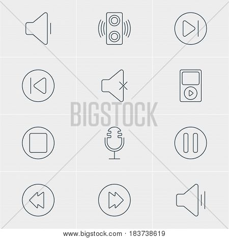 Vector Illustration Of 12 Melody Icons. Editable Pack Of Lag, Soundless, Decrease Sound And Other Elements.