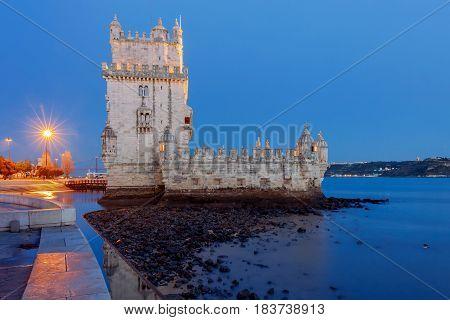 Old medieval tower Belem on the river Tagus. Lisbon. Portugal.