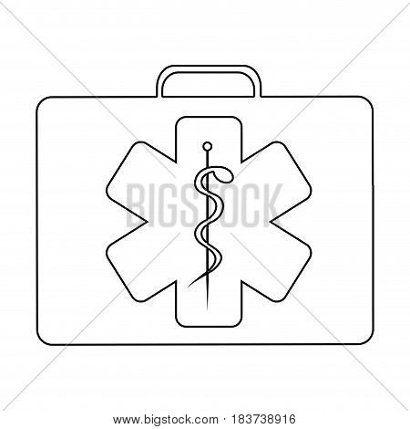 silhouette firts aid kit with symbol star of life vector illustration