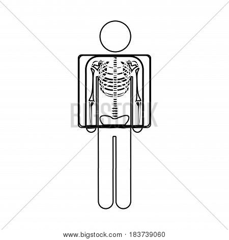 silhouette pictogram patient and radiography vector illustration
