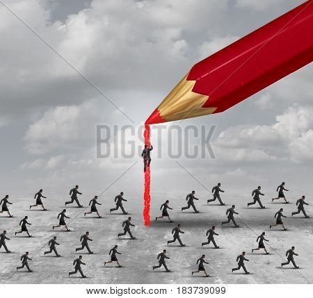 Succeed in business concept as a group of competing people with a pencil paving a path to faster success or recruitment of talent with 3D illustration elements.