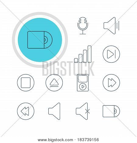 Vector Illustration Of 12 Melody Icons. Editable Pack Of Pause, Rewind, Compact Disk And Other Elements.