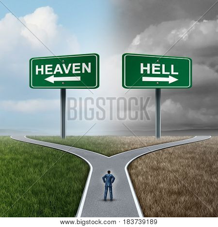 Heaven and hell crossroad life choice as a person standing at a fork in the road with paradise and gloom with 3D illustration elements.