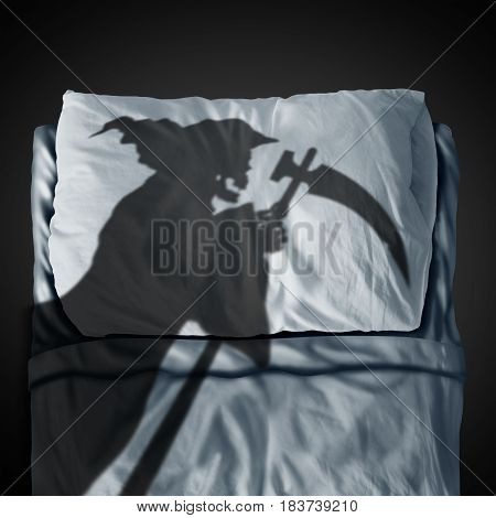 Death bed and fear of mortality concept as a grim reaper ghost casting a shadow on a pillow and sleep mattress as a medical and health fatality symbol in a 3D illustration style.