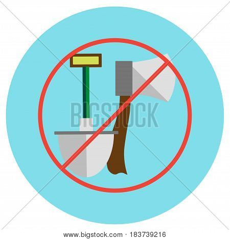 Icons of an ax and a shovel crossed in a circle in a flat style. Vector image on a round colored background. Element of design, interface.