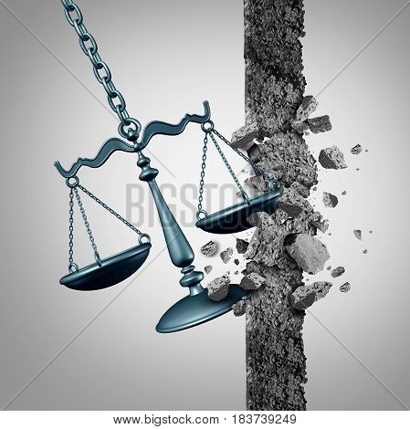 Breaking legal ground and lawyer services success symbol as a justice scale destroying a wall as a wrecking ball with 3D illustration elements.