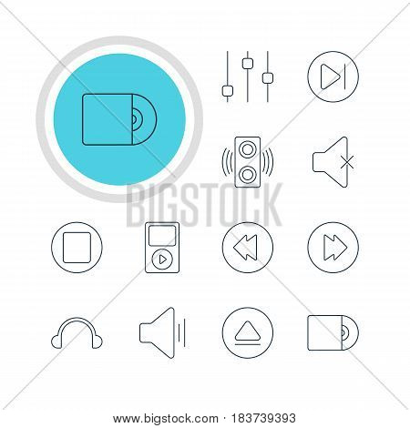 Vector Illustration Of 12 Melody Icons. Editable Pack Of Pause, Mp3, Compact Disk And Other Elements.