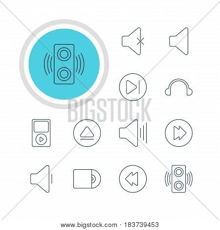Vector Illustration Of 12 Music Icons. Editable Pack Of Volume Up, Advanced, Decrease Sound And Other Elements.
