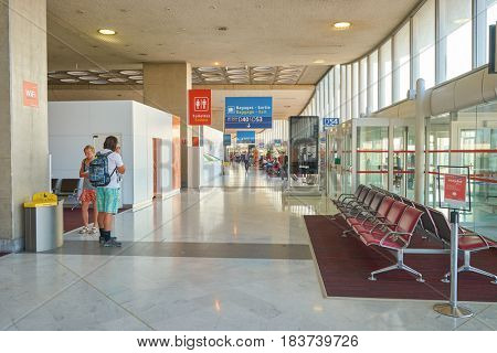 PARIS, FRANCE - CIRCA SEPTEMBER, 2014: inside Charles de Gaulle Airport. The airport is the largest international airport in France.