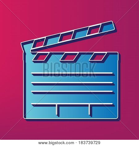 Film clap board cinema sign. Vector. Blue 3d printed icon on magenta background.
