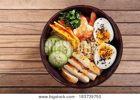 bowl of japanise ramen noodle with chicken. top view