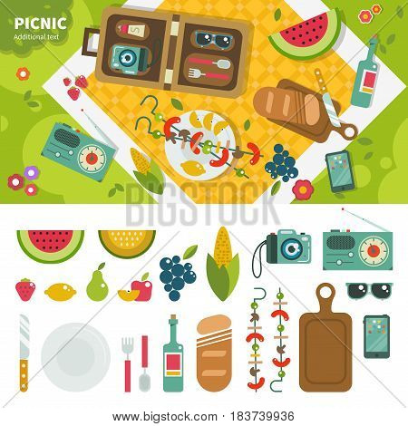Geometric illustartion of summer picnic in the park. Picnic equipment and products on the green lawn, products, camera, radio, phone isolated on white background