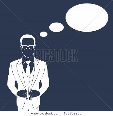 Standing businessman isolated on white background vector illustration. Business man dressed in suit without face. Portrait of Full length with copy space for message
