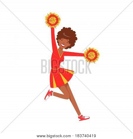Smiling cheerleader girl teenager dancing with red and yellow pompoms. Red and yellow cheerleader uniform. Colorful cartoon character vector Illustration isolated on a white background