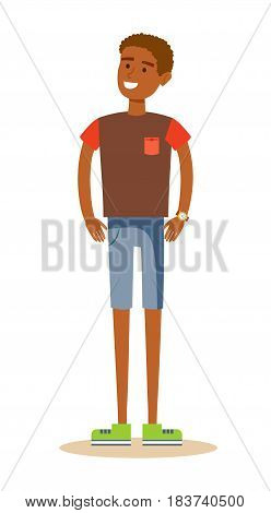 Smiling young man in t-shirt. Portrait Of Happy Young African Man Over White Background. Stock flat vector illustration.