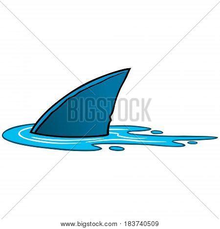 A vector illustration of a cartoon shark fin.