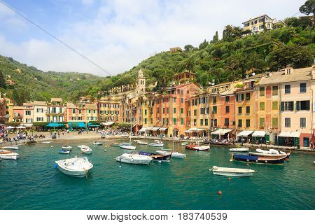 PORTOFINO/ITALY - 25 April 2017: Beautiful sea coast with colorful houses in Portofino Italy