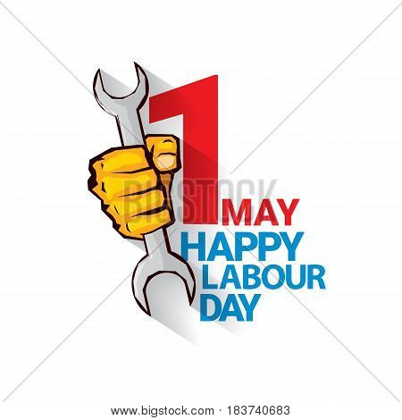 Happy labour day vector label with strong orange fist isolated on white background. vector happy labor day background or banner with man hand. workers day poster