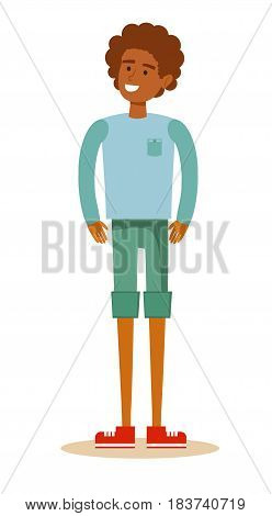 Portrait Of Happy Young African Man Over White Background. Stock flat vector illustration.