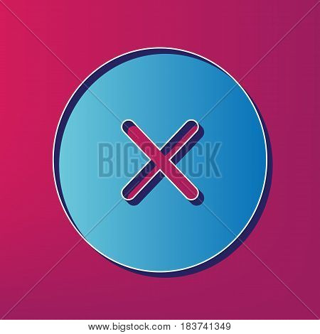 Cross sign illustration. Vector. Blue 3d printed icon on magenta background.