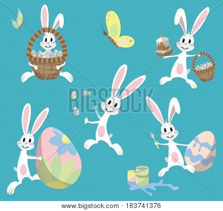 Happy Easter. Cute Easter bunny sitting in a basket, juggling with easter eggs, decorated Easter Egg, throws eggs. Vector illustration. Set. Isolated on blue background