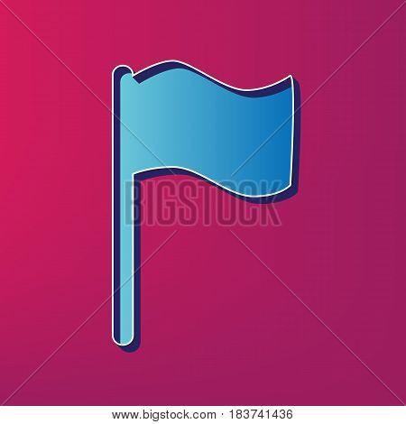 Flag sign illustration. Vector. Blue 3d printed icon on magenta background.