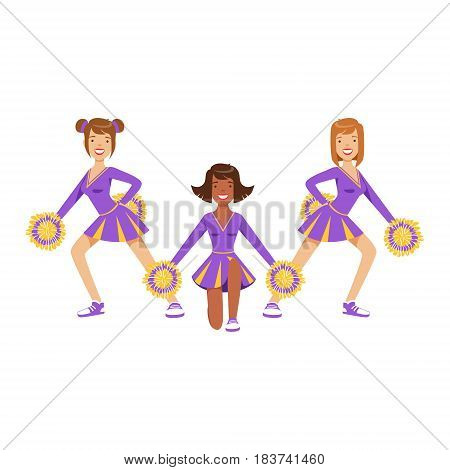Cheerleader girls with pompoms dancing to support football team during competition. High school cheerleading team. Purple cheerleader uniform. Colorful cartoon character vector Illustration isolated on a white background