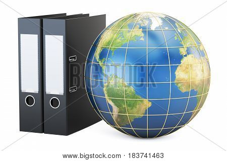 Global data storage 3D rendering isolated on white background