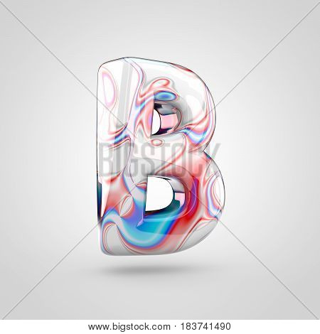 Glossy Water Marble Alphabet Letter B Uppercase Isolated On White Background