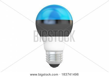 Light bulb with Estonia flag 3D rendering isolated on white background
