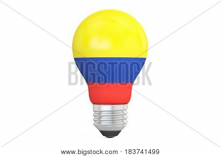Light bulb with Colombia flag 3D rendering isolated on white background