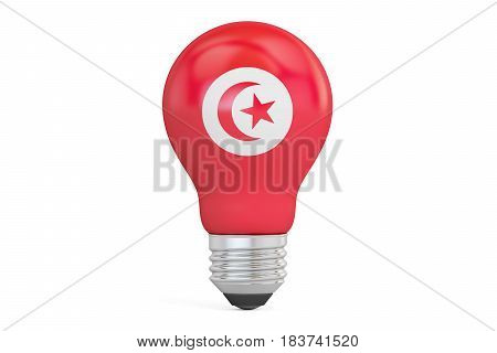 Light bulb with Tunisia flag 3D rendering isolated on white background