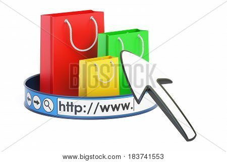 online shopping concept 3D rendering isolated on white background