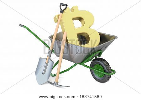 Bitcoin Mining e-business concept. 3D rendering isolated on white background