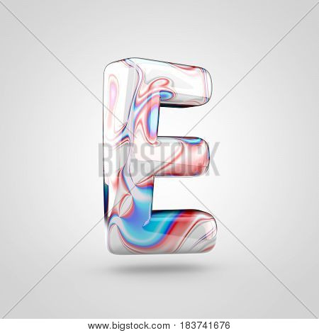 Glossy Water Marble Alphabet Letter E Uppercase Isolated On White Background