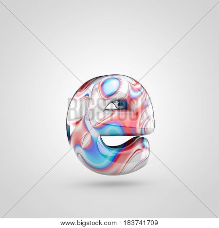 Glossy Water Marble Alphabet Letter E Lowercase Isolated On White Background