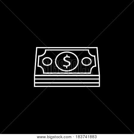 Bundle of money coin line icon, finance and business, dollars sign vector graphics, a linear pattern on a black background, eps 10.
