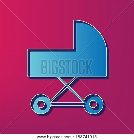 Pram sign illustration. Vector. Blue 3d printed icon on magenta background.