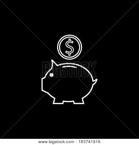 Piggy box line icon, finance and business, money box with coin vector graphics, a linear pattern on a black background, eps 10.