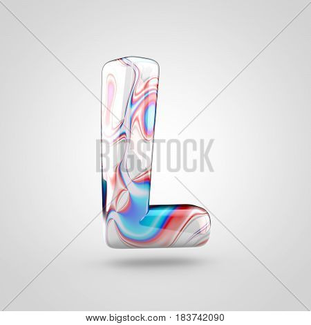 Glossy Water Marble Alphabet Letter L Uppercase Isolated On White Background