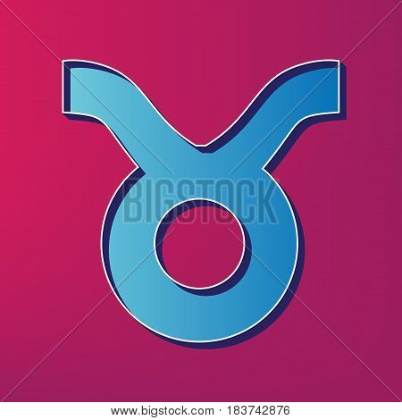 Taurus sign illustration. Vector. Blue 3d printed icon on magenta background.