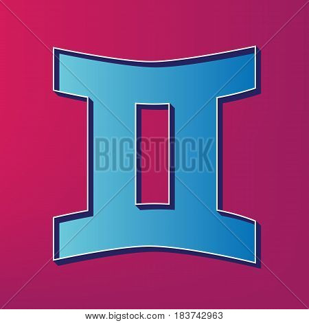 Gemini sign. Vector. Blue 3d printed icon on magenta background.