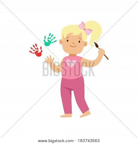 Happy smiling little blond girl painting white wall with colorful handprints. A small artist, education and child development. Colorful character vector Illustration isolated on a white background