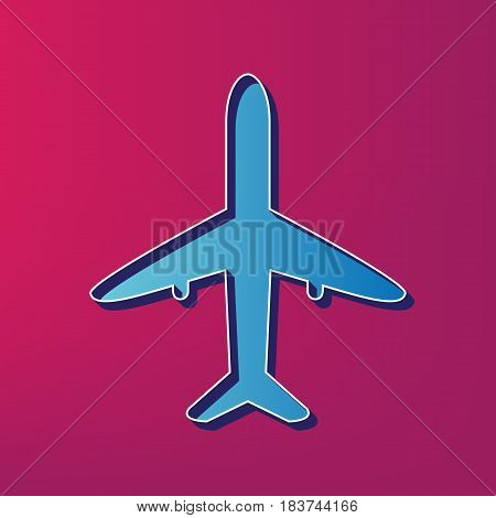 Airplane sign illustration. Vector. Blue 3d printed icon on magenta background.